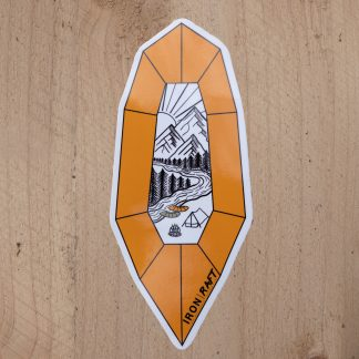 Orange Packraft Laminated Vinyl Sticker | UK Packrafting | Iron Raft