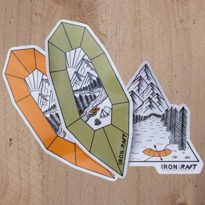 Iron Raft Packrafting Laminated Vinyl Sticker Pack | Iron Raft